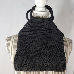 Handbags - Designer Black Crocheted Bag